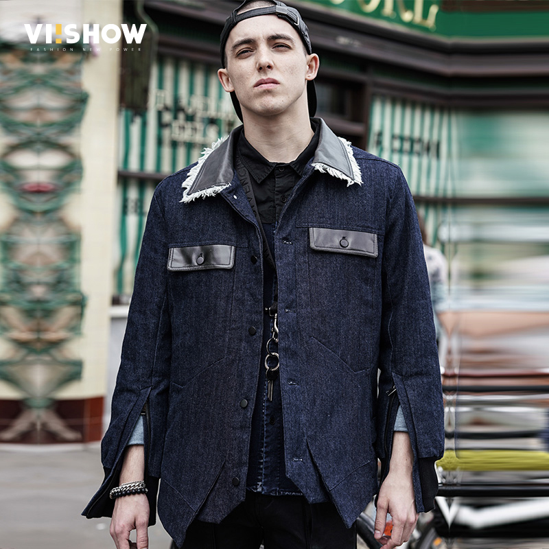 VIISHOW New Men Jacket And Coats Brand Clothing Denim Jacket Fashion Mens Jeans Parka Warm Winter Outwear Male Cowboy MC17046 hot sale winter jacket men fashion cotton coat warm parka homme men s causal outwear hoodies clothing mens jackets and coats