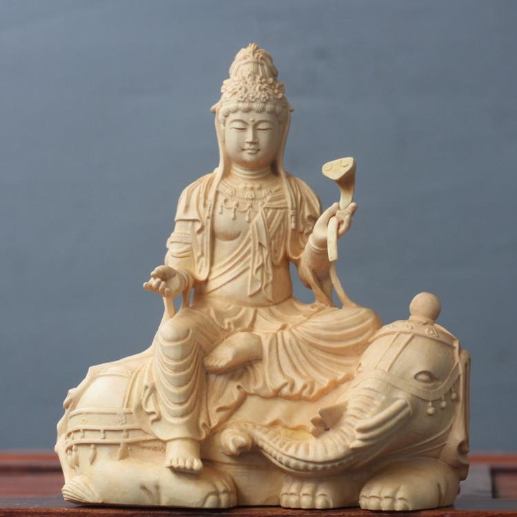 Legno di bosso Intagliare Statue di Buddha In Legno Massello Manjusri Bodhisattva Dea Manjuist Samantabhadra Artigianato Doni Decorazioni Figura-in Statuine e miniature da Casa e giardino su  Gruppo 2