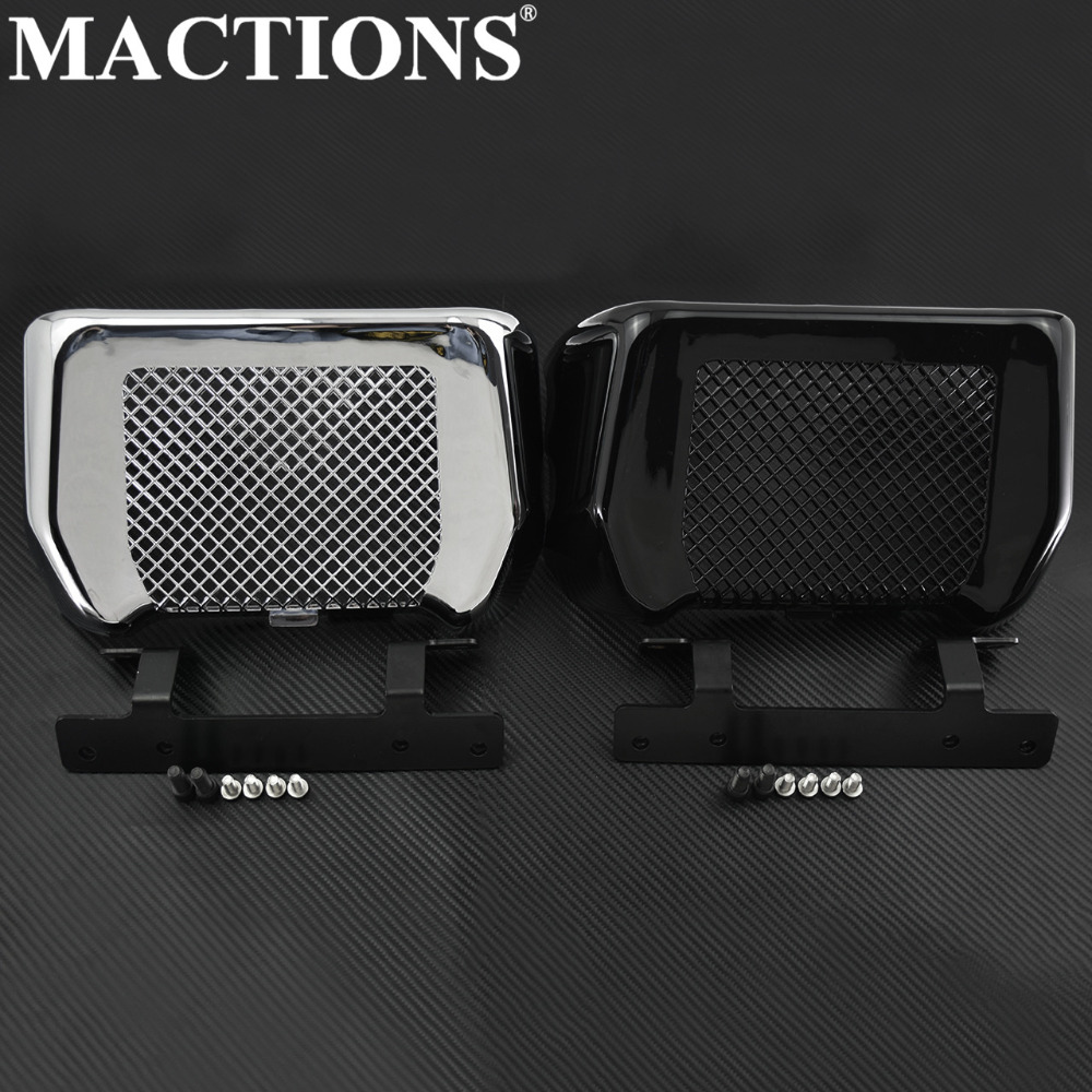 Motorcycle Oil Cooler Cover Case with Bracket Black Chrome For Harley Touring Road King FLHX FLHXS