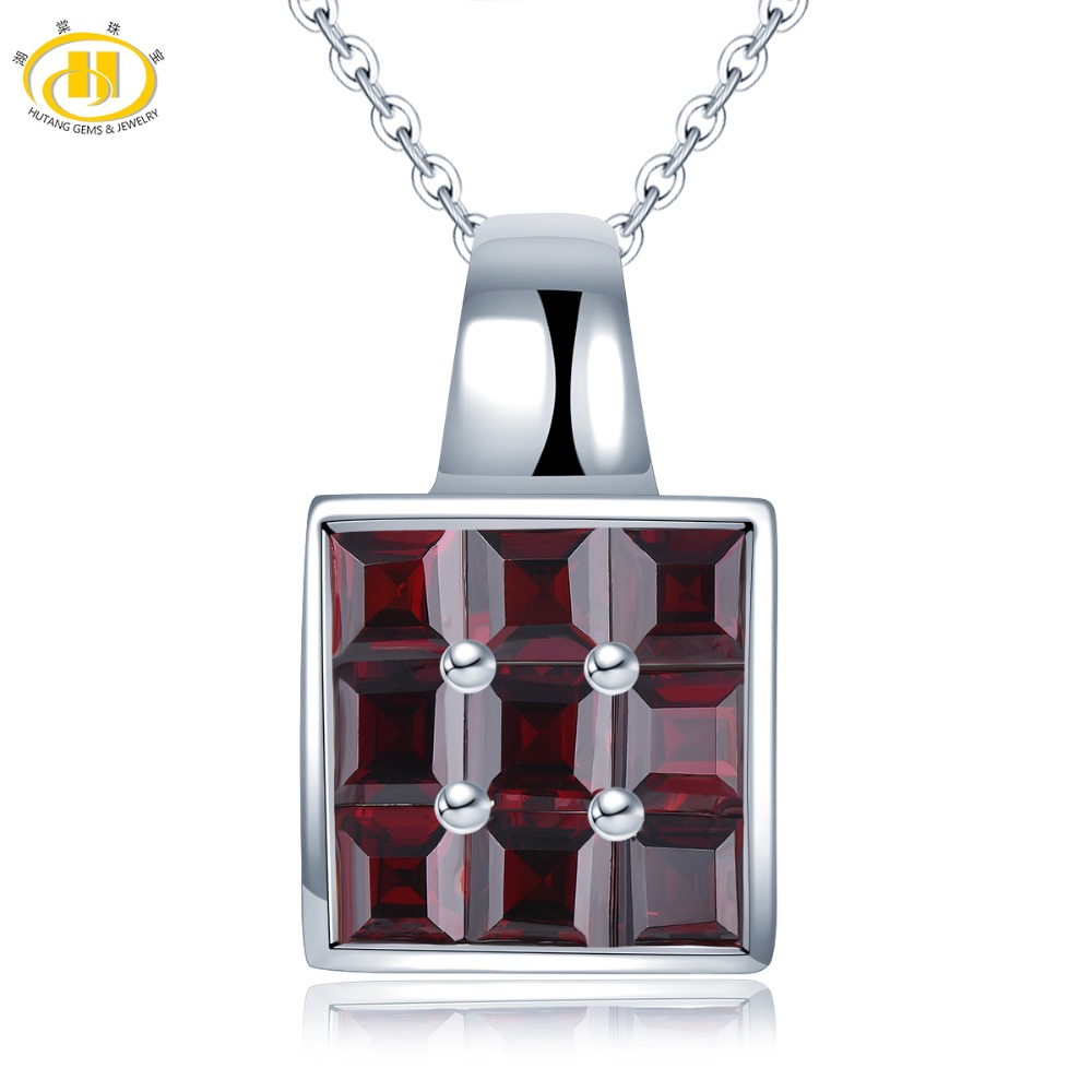Hutang 4.32ct Garnet Pendant Natural Gemstone 925 Silver Necklace Fine Jewerly Classic Design For Women's Girls' Great Girl New