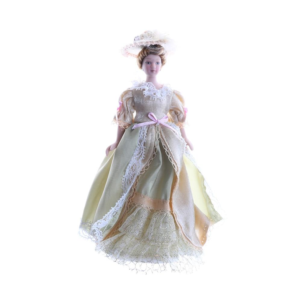 TOYZHIJIA Cartoon Porcelain Doll Eat to Play Dodo Shokugan Model Western-style Dress Dolls for Kids Baby 1:12 Dollhouse