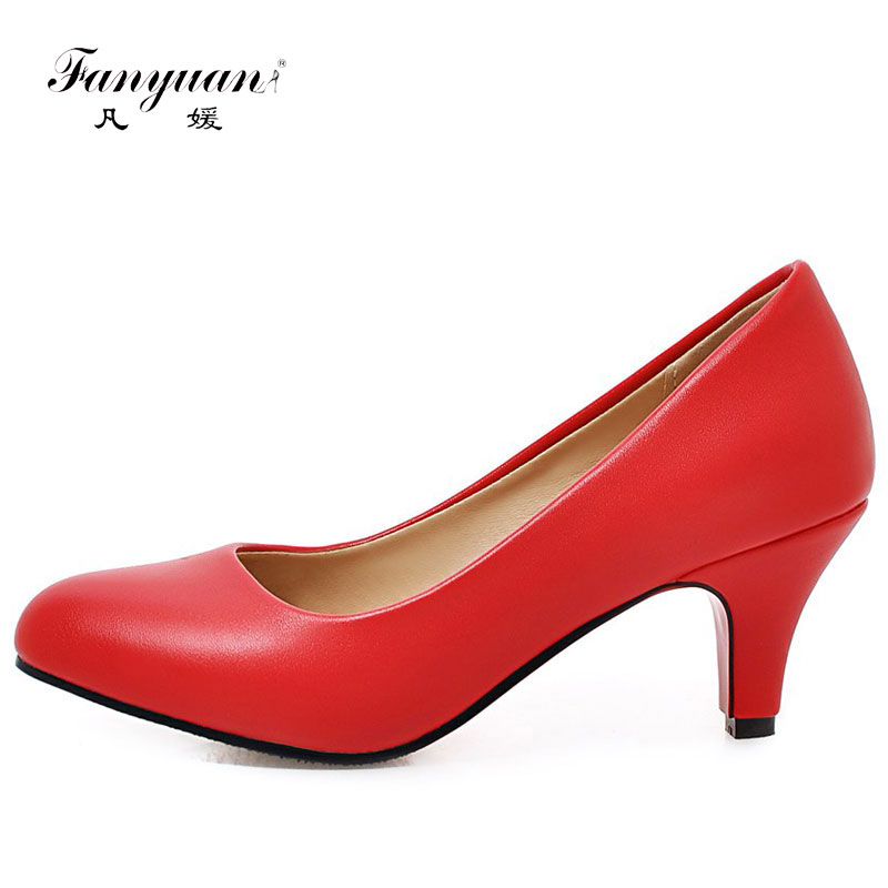 Fanyuan 2018 Shallow Women Low Heel Pumps Shoes Round Toe Platform OL Office Career Casual Walk