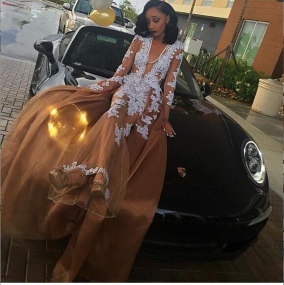Aliexpresscom  Buy Champagne Sexy Black Girl Prom Dress