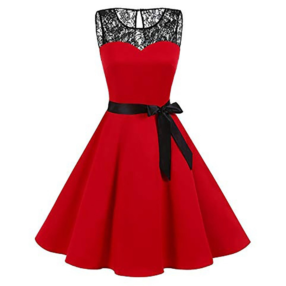 Sleeper #401 2018 Women High-Waist Pleated Dress girl Sleeveless Solid Lace Hepburn Vintage Swing lady casual hot Drop Shipping