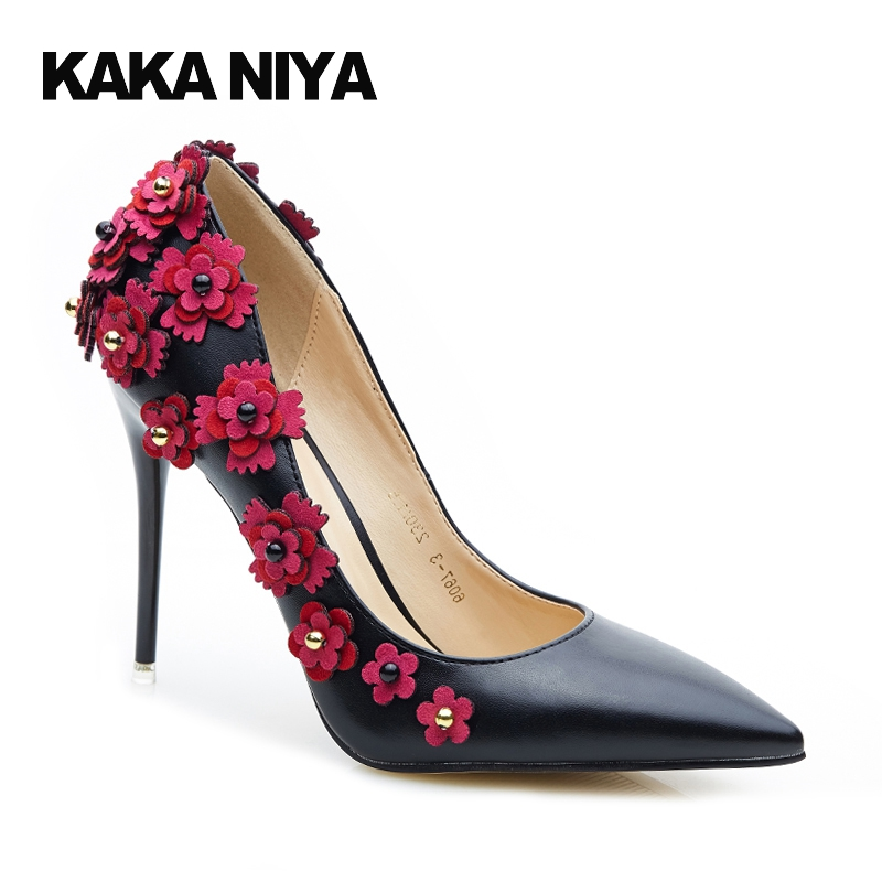 De Talla Pequeña Scarpin Claro Marfil Tacones 2017 Beige Dama Floral Boda Flores Súper Dedo Extremo Ultra Zapatos Novia negro Marron Altos qOSqrd