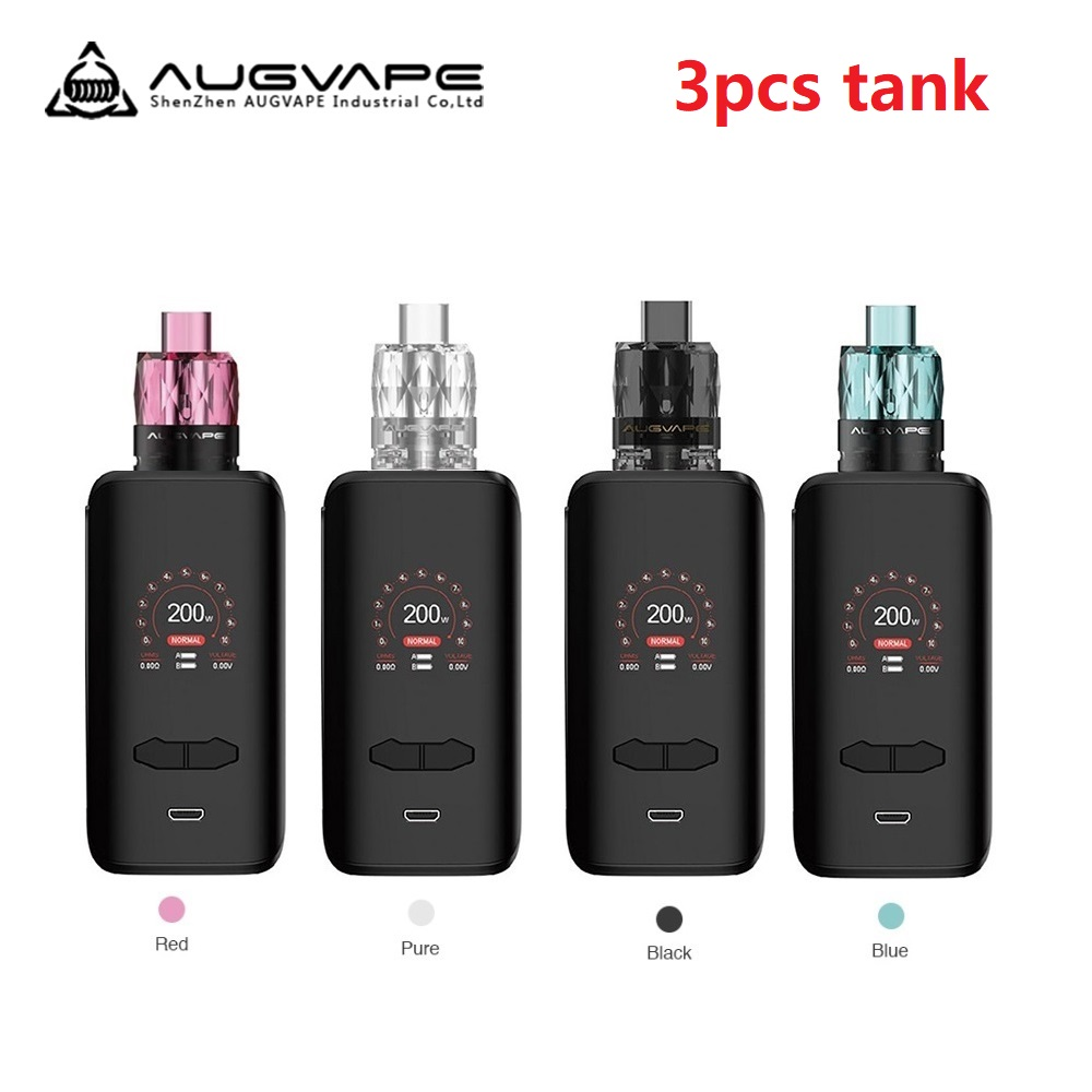 New Original <font><b>Augvape</b></font> <font><b>VX200</b></font> <font><b>200W</b></font> TC Box Mod Kit W/ 3pcs Jewel Subohm Tank E-cig Vape Kit No 18650 Battery Vaporizer Vs Luxe Kit image