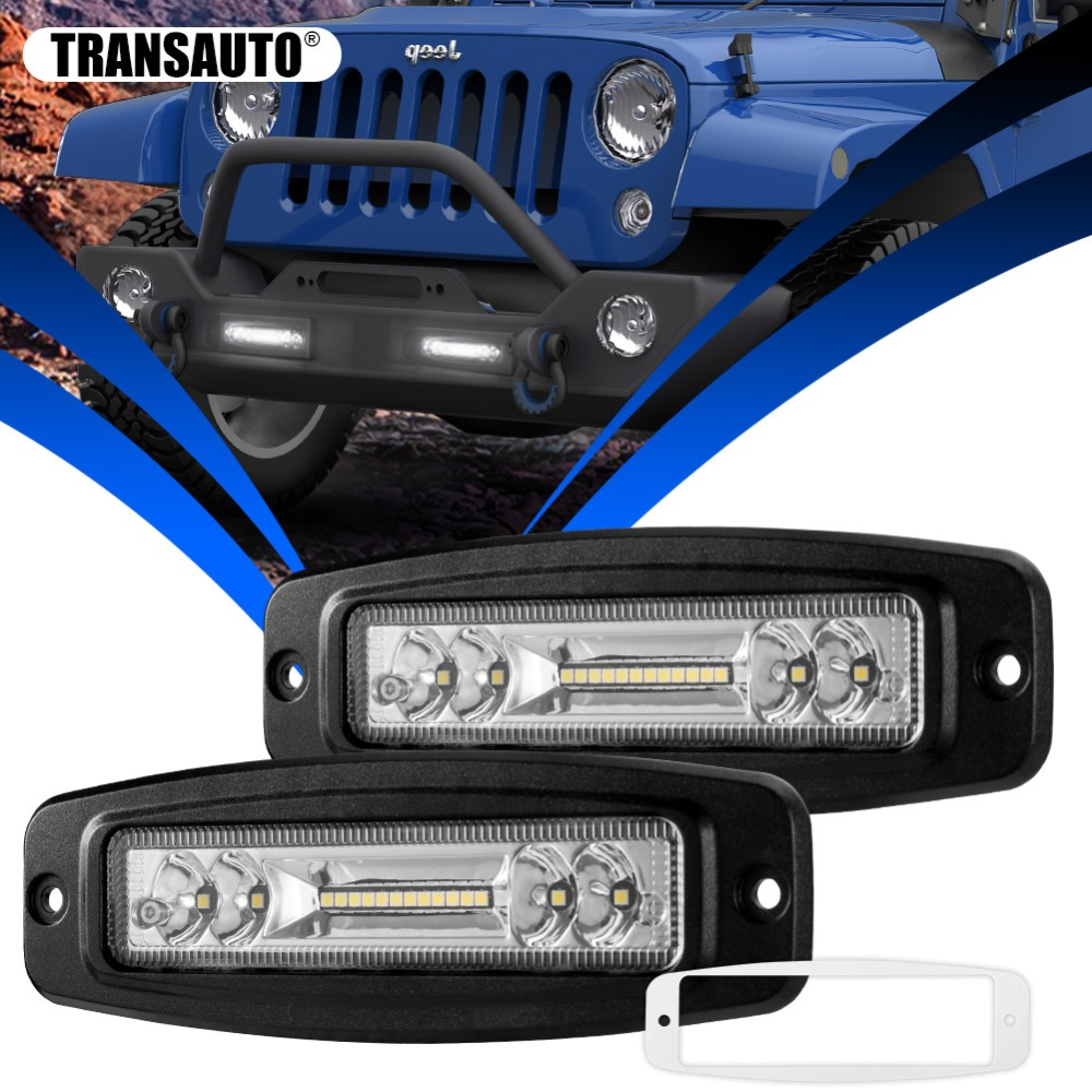 7 Inch Flush Mount LED Pods, 3000LM 12V Flood Spot Combo Beam Fog Driving Light bar for Off road Jeep Truck SUV ATV UTV, 2 Pack