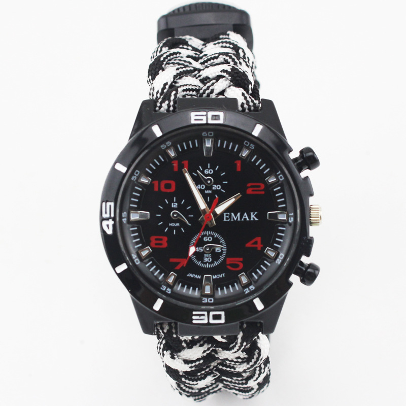 EMAK Survival Watch Outdoor Camping Medical Multi-functional Compass Thermometer Rescue Paracord Bracelet Equipment Tools kit