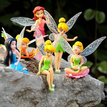 6pcs/set Anime Cartoon Tinkerbell Tinker Bell Fairy PVC Action Figure Toys Girls Dolls Gift for Children(China)