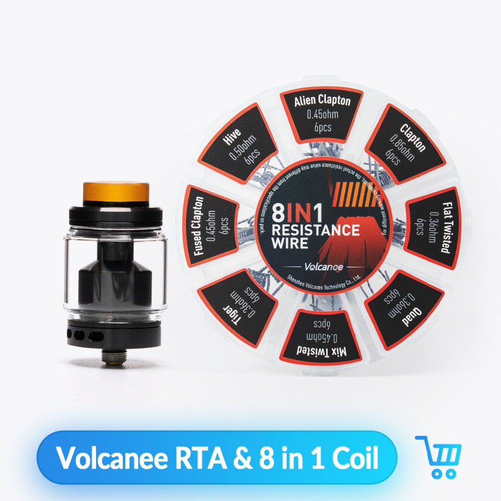 Volcanee Dual Coil RTA Atomizer With 8 In 1 Premade Coil Ni80 Alien Coils For E Cigarette Liquid Box Mod No Vape Juice Tank