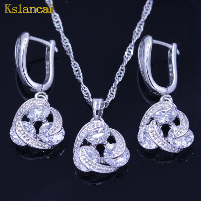 Lan Hot-Selling 925 Sterling Silver Choker Jewelry Sets Light White AAA Zircon Necklace Pendant Earring For Women Free Shipping