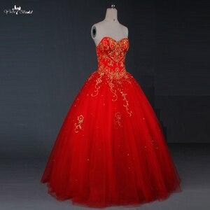 Image 3 - TW0194 الأحمر الزفاف اللباس الذهب التطريز Sweethearted مع الديكور الكرة ثوب فساتين الزفاف الباكستاني