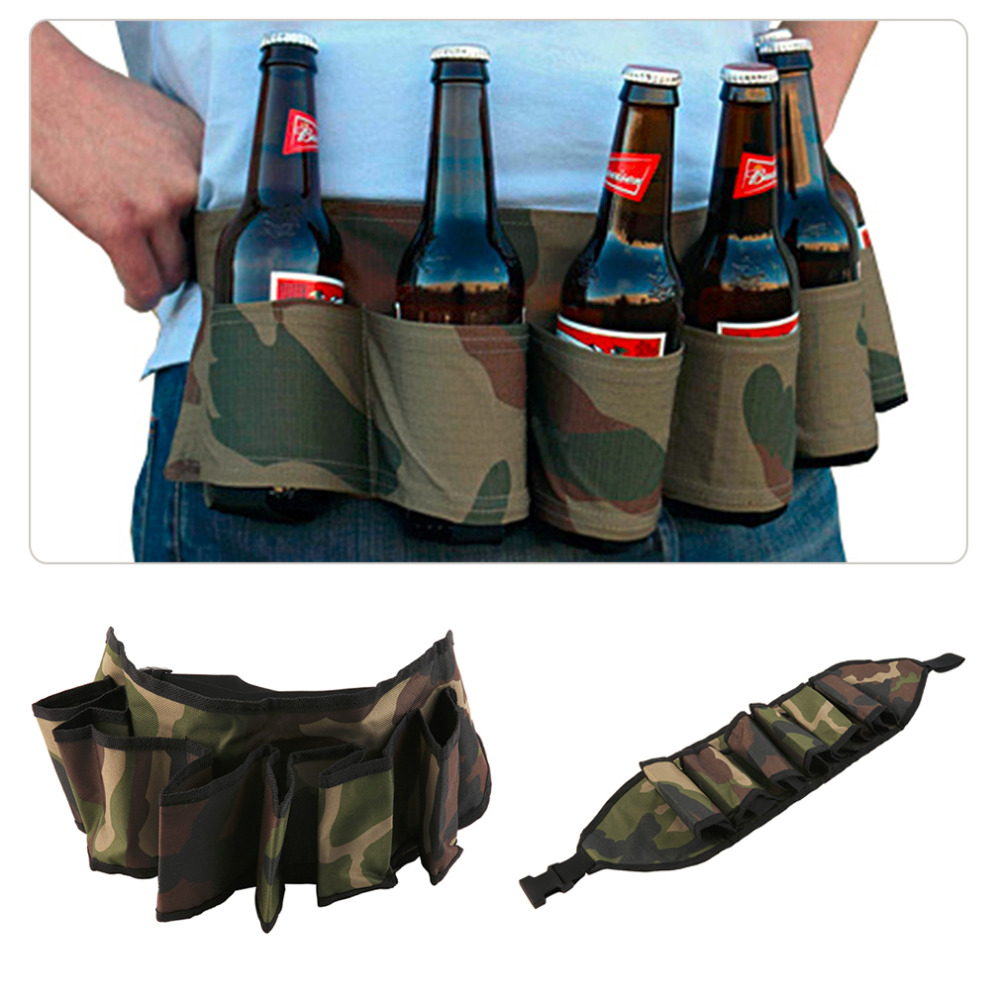 New Beer Belt Holster Drink Soda Can Bottle Pouch Canvas Holster Black Camouflage For Party Outdoor Holidays Camping Drinks J2 Sports & Entertainment