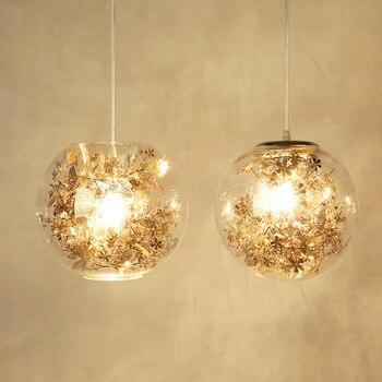 Nordic Pendant Light Glass Global Pendant Lamp Modern Lustre Fish Tank Steel Flower Suspend Kitchen Light Fixtures Lighting