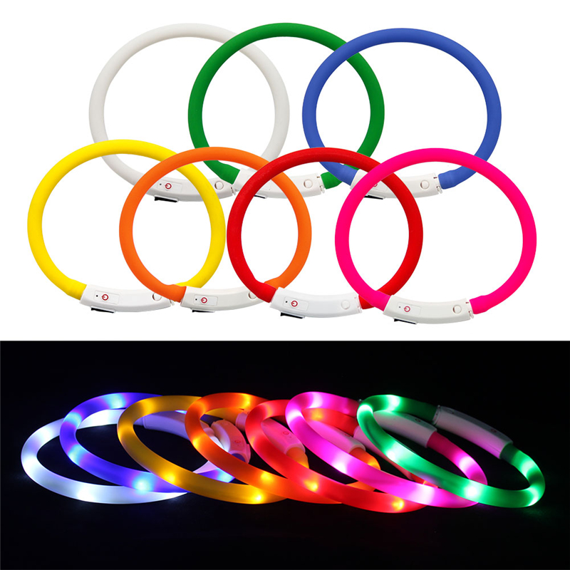 Rechargeable Flashing Night Dog Collars Usb Luminous Pet Collar Led Light Usb Charging Dog Collar Glowing Teddy Flash Collar Pet #4