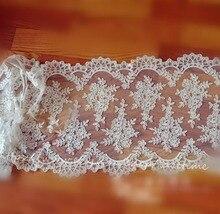 1 Yard Exquisite Ivory Alencon Lace Fabric Trim, Wedding Veil Bridal Lace, Shrug