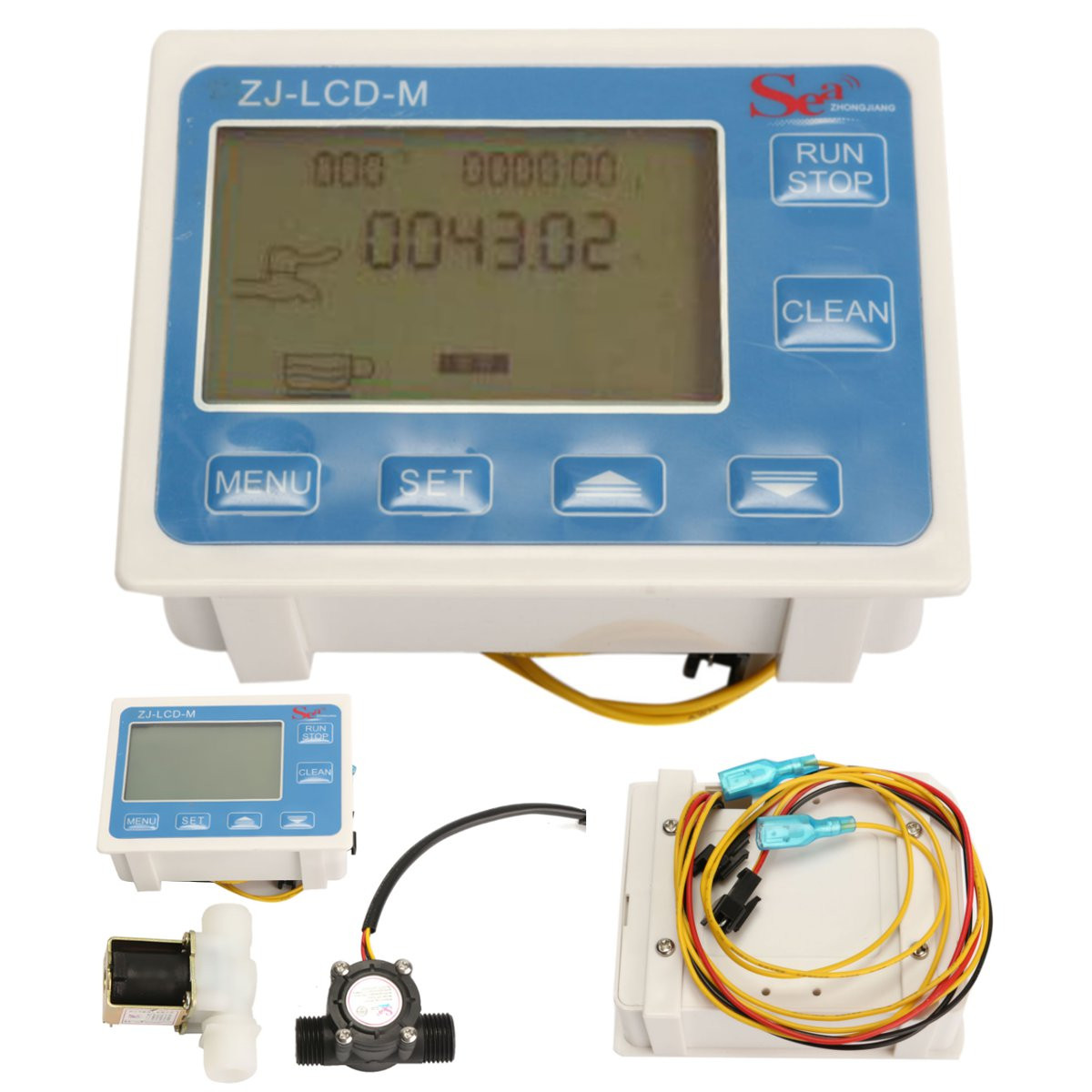1Pcs Durable Quality 1/2 Water Flow Control Meter LCD Display + Flow Sensor + Solenoid Valve light weight