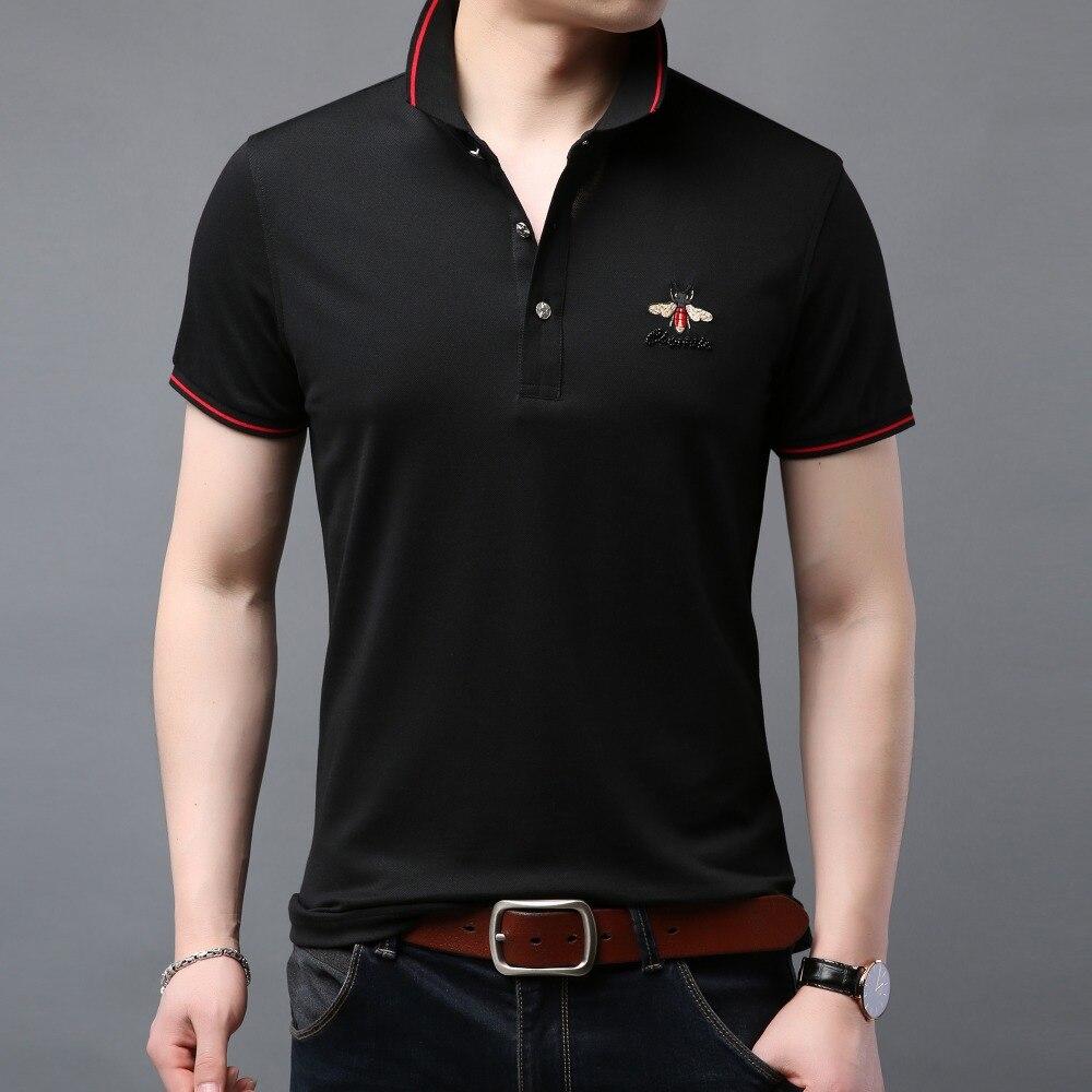 Célèbre Marque Homme Polo Shirt Hommes Coton Respirant 2019 Été Nouveau Designer Affaires Solide À Manches Courtes polos F19888