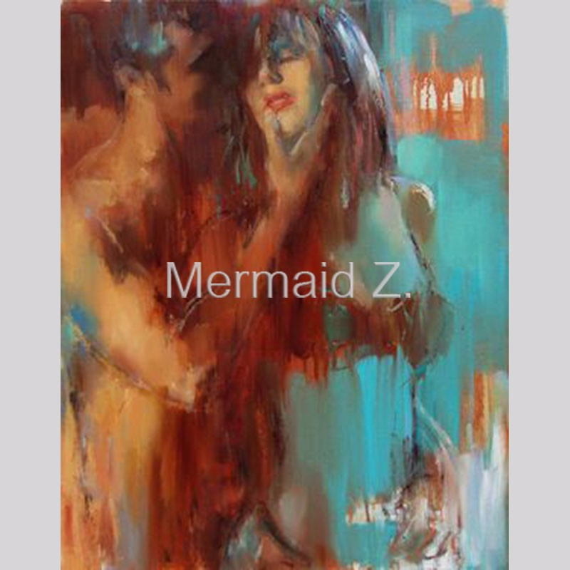 Hand Painted Modern Abstract Sexy Girl Man Oil Painting On Canvas Nude Sex Oil Painting For Wall Decoration