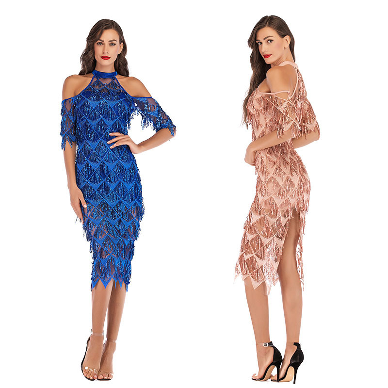 Sexy Sequined Mermaid   Cocktail     Dresses   Cold Sleeve Halter Hollow Out Tassel Split Women Formal Party   Dresses   Vestido   Cocktail