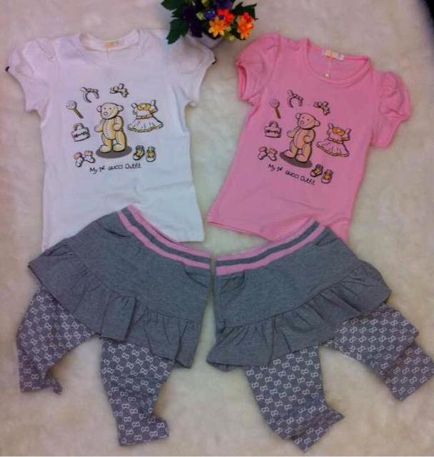 New 2 Color Girls baby bear cartoon short sleeve T-shirt +Lotus leaf lace skirts pants suit wholesale 2017