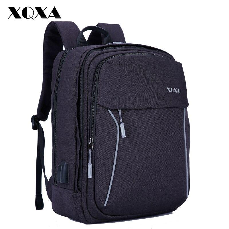 Xqxa Для мужчин рюкзак с зарядка через USB Anti Theft путешествия Back Pack 15.6-17.3 дюймов ноутбук рюкзак для Для мужчин и Для женщин школьные ранцы