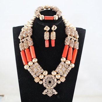 Fabulous Chunky Bib Wedding African Coral Beads Jewelry Set Gold Dubai Bridal Statement Coral Necklace Set Gift CNR053