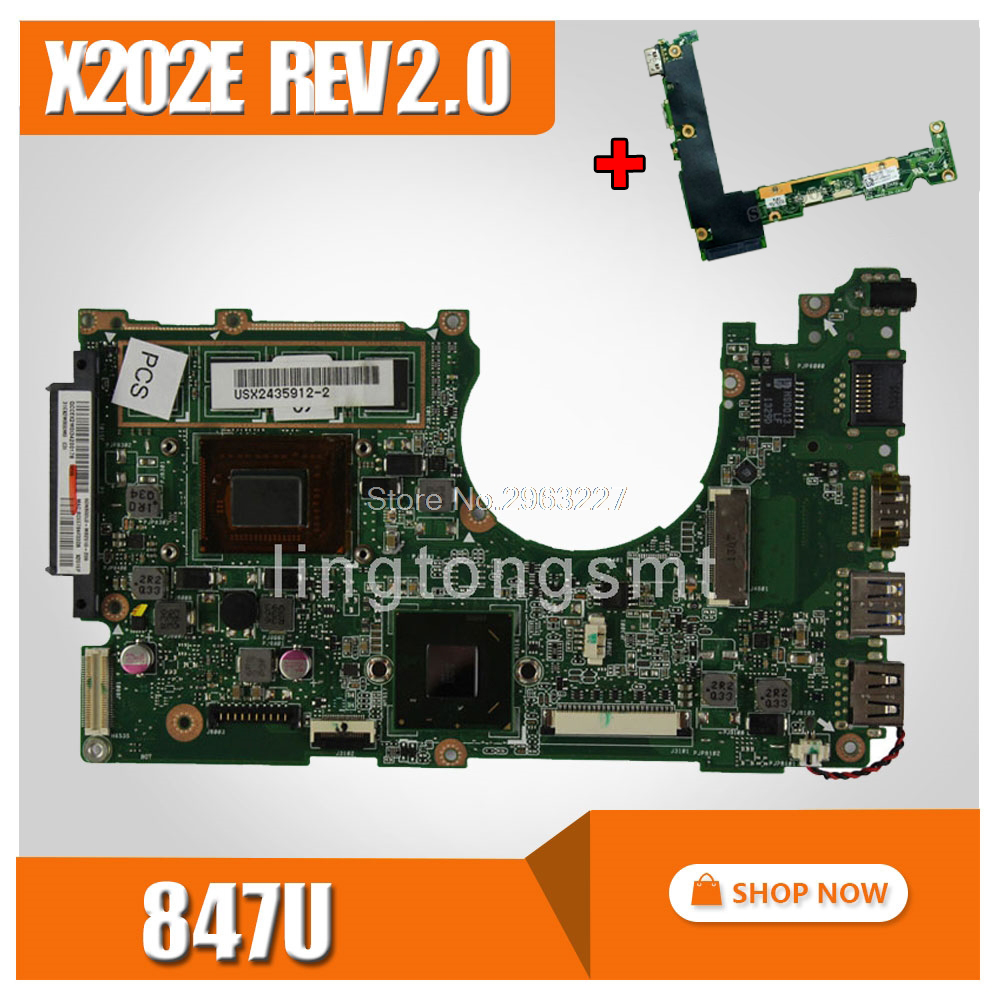 send board+X202E Motherboard 4GB REV2.0 847 HM76 For ASUS X201E S200E X202E Laptop motherboard X202E Mainboard X202E Motherboard x202e q200e s200e x201e laptop motherboard mainboard for asus with i3 2365cpu 4g ddr3 1333 mhz tested