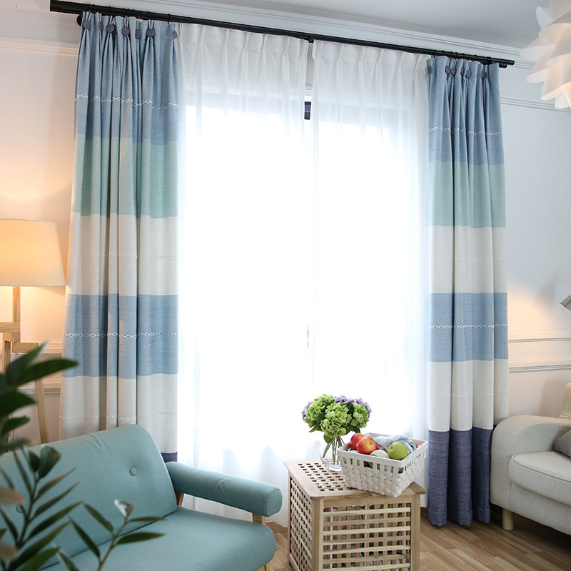 Linen Stripe Kitchen Curtains: Japan Style Curtain For Living Room Modern Striped Curtain