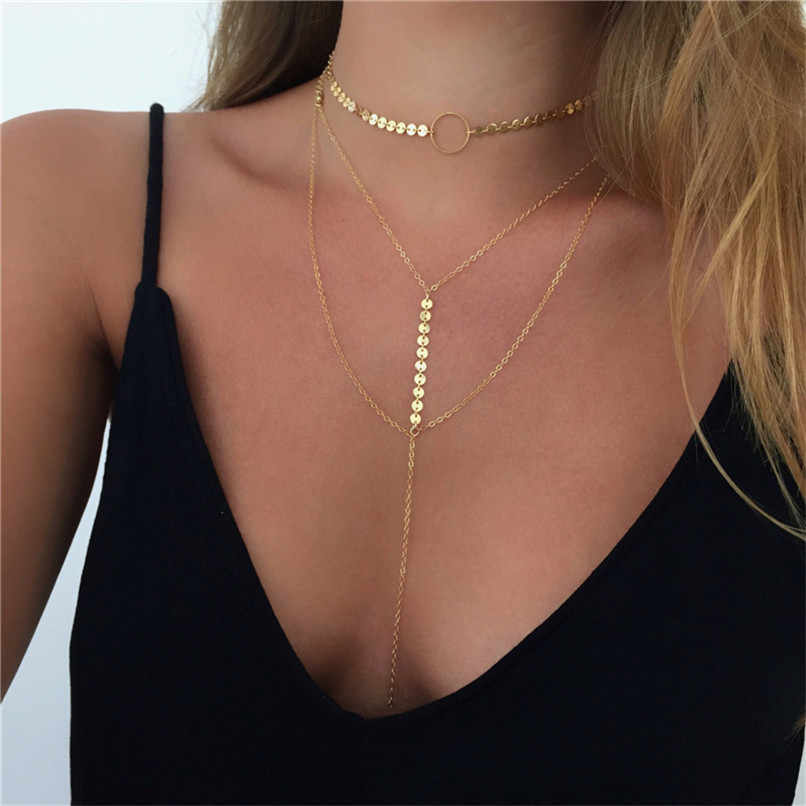 Lusion Star Jewelry Sequins Multi-layer Personality Choker Necklace For Woman Bijoux Ethnic Fashion necklaces & pendants Hot