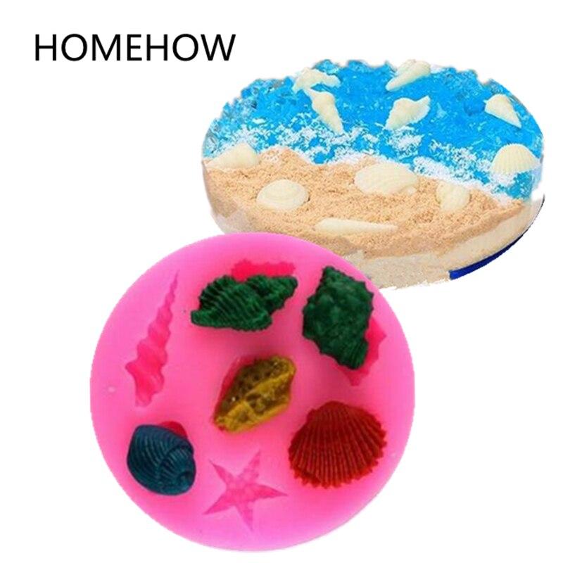 1 개 / 몫 3D 실리콘 금형 해양 유기체 미니 쉘 조가비 불가사리 모양 7 그리드 케이크 실리콘 몰드 퐁당 베이킹 도구