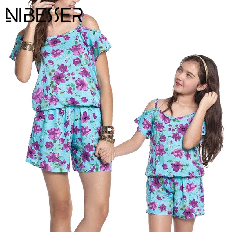 NIBESSER Jumpsuit Women 2018 Fashion Summer Floral Print Sexy Strapless Short Sleeve Casual Mother Child Playsuit Plus Size XXXL