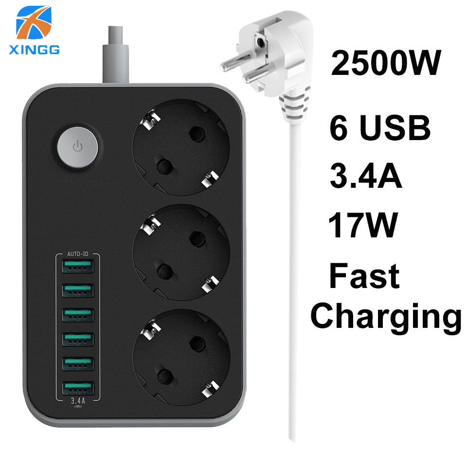EU Europäische Smart Power Streifen Mit Schalter 10A 3 Outlets 6 USB Steckdose Kabel Kabel 1,6 M Surge Protector netzwerk Filter