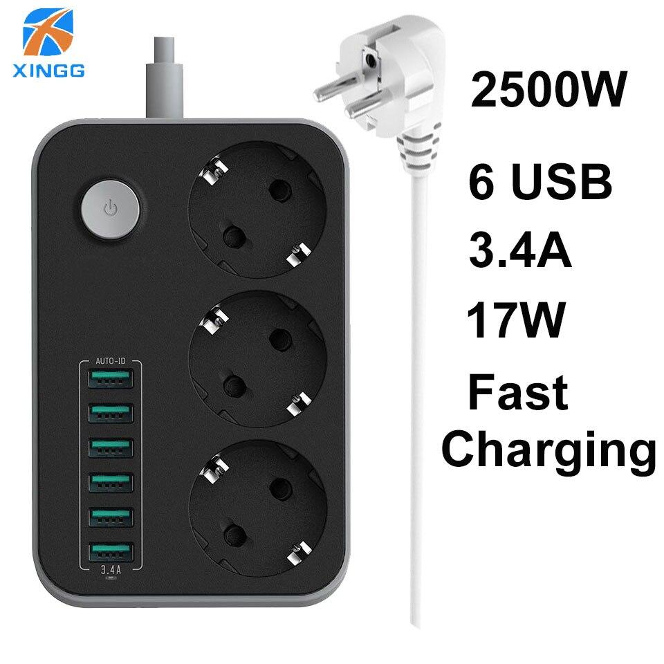 XINGG 3 Gang UE Smart USB tira de alimentación con 3.4A carga puertos Multi enchufe Europa PowerCube 1,6 M extensión cable con usb