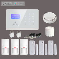 Free Shipping Wireless 433MHz GSM RFID Home Security Alarm System+Smoke Detector, Andorid/Iphone APP Remote Control