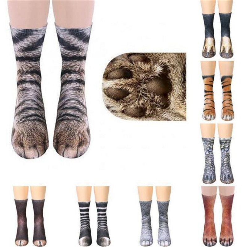 New 3D Print Adult <font><b>Animal</b></font> Paw <font><b>Socks</b></font> <font><b>Unisex</b></font> Crew Cat Long Stocks Elastic Breathable <font><b>Sock</b></font> Dog Horse Zebra Pig Cat Paw SA-8 image