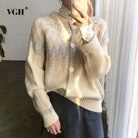 VGH Cardigan Women Round Neck Print Long Sleeve Sweater Female Basic Top Jumper Korean Clothes Vintage