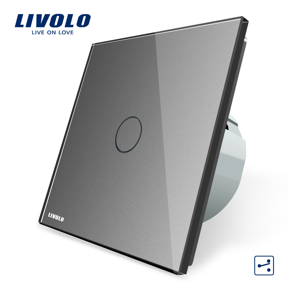 Livolo EU Standard 2 Way Control Wall Switch,AC 220~250V, Grey Crystal Glass Panel, Wall Light Touch Screen Switch, VL-C701S-15 livolo eu standard touch timer switch ac 220 250v vl c701t 32 black crystal glass panel wall light 30s time delay switch