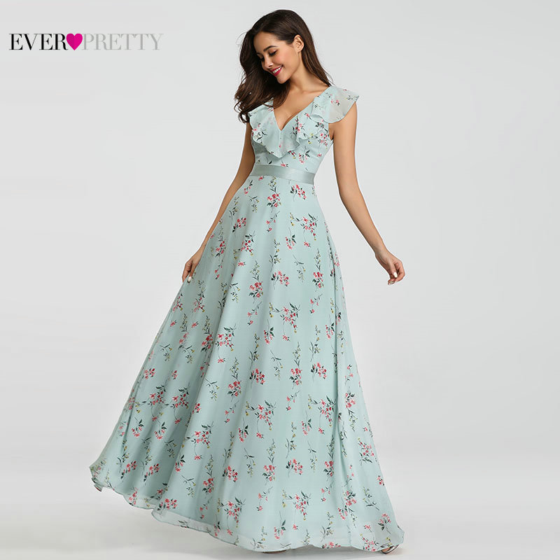Ever Pretty Flower Printed Prom Dresses Long 2018 Chiffon V Neck Floor Length Elegant Guest Dress for Wedding Party EP07241