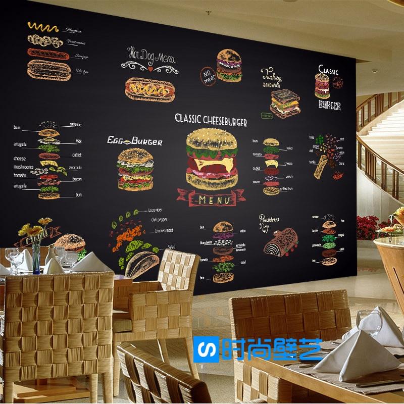 где купить Custom 3d mural wallpaper 3D personality fries burger fast food restaurant leisure bar milk tea shop Restaurant wallpaper mural по лучшей цене