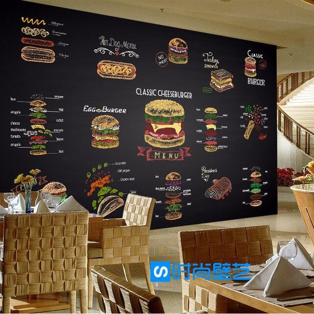 Custom Wandbild Tapete Persönlichkeit Frites Burger Fast Food Restaurant Freizeit Bar Milch Tee