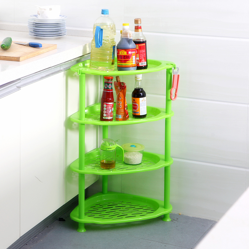 050 Multipurpose Shelf Kitchen Storage Rack Shelf Triangular kitchen and toilet four layers receiver rack 49 36 75cm in Racks Holders from Home Garden