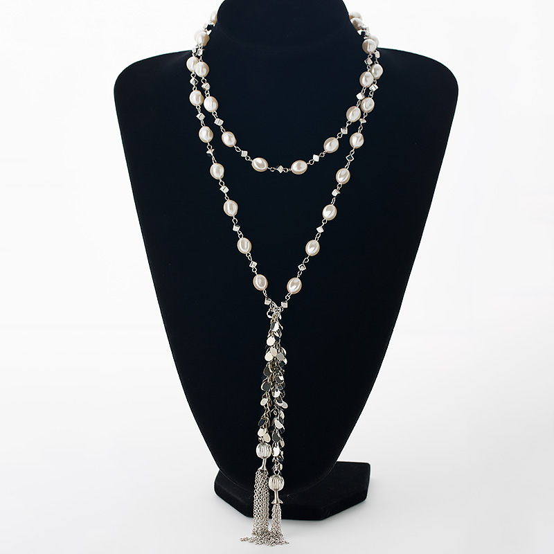 Long style simulated pearls women necklaces silver color zins