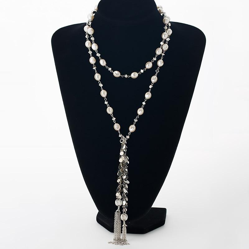 Prix pour Style Long simulé perles femmes colliers argent couleur en alliage de zinc chaîne glands dames collier bijoux MDJB253