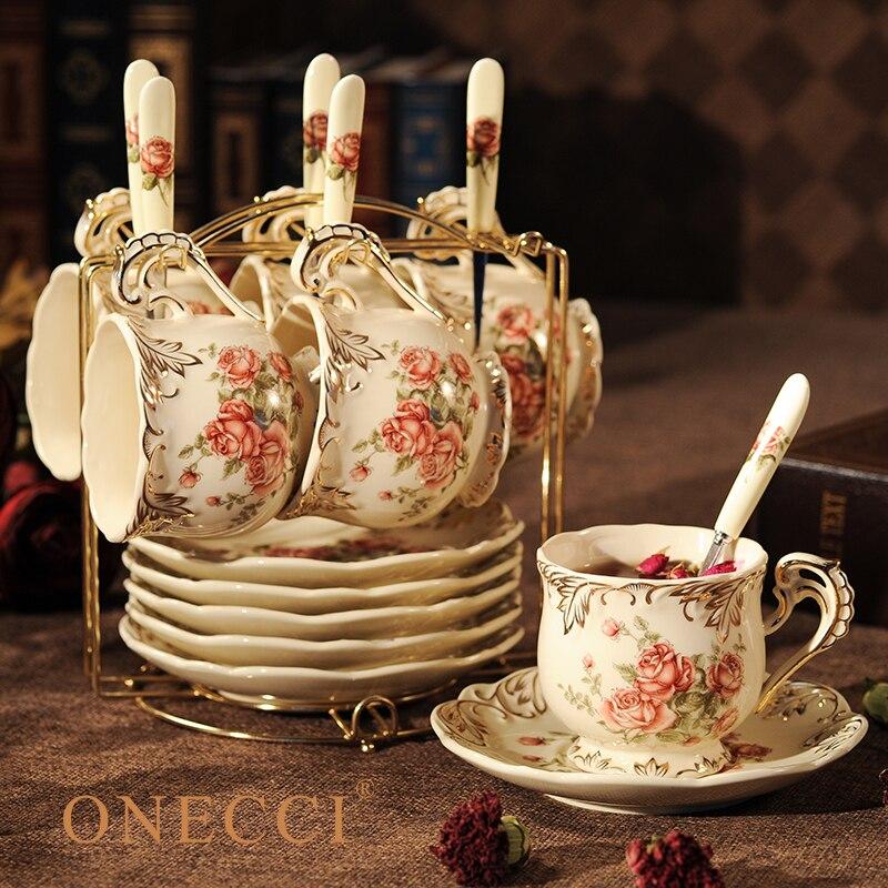 Creative European Porcelain Coffee Cups Set China Chinese Wedding Tea Set Home Decoration Accessories