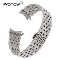 منحني نهاية الفولاذ الصلب watchband ل بريتلينغ iwc أوميغا ووتش تاغ هوير الفرقة فراشة إبزيم حزام المعصم 18 ملليمتر 20 ملليمتر 22 ملليمتر