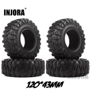 INJORA 4PCS 2.2 Rubber Mud Grappler Tires 120*43MM for 1:10 RC Rock Crawler Axial SCX10 SCX10 II 90046 90047 Traxxas TRX-4 TRX4 1