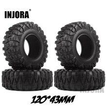 INJORA 4 piezas 2,2 neumáticos de goma para grapadora de lodo 120*43 MM para 1:10 RC Rock orugas Axial SCX10 SCX10 II 90046 90047 Traxxas TRX 4 TRX4
