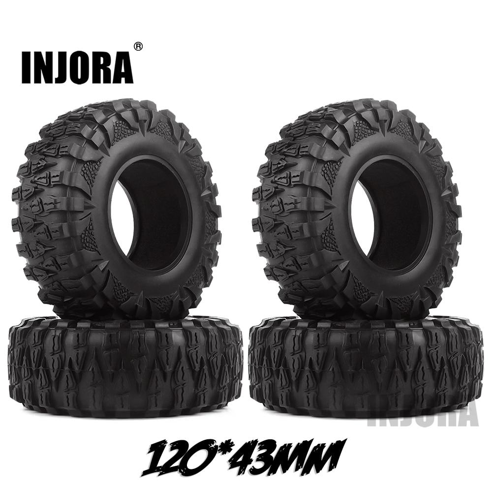 INJORA 4PCS 2.2 Rubber Mud Grappler Tires 120*43MM For 1:10 RC Rock Crawler Axial SCX10 SCX10 II 90046 90047 Traxxas TRX-4 TRX4