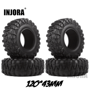 Image 1 - INJORA 4PCS 2.2 Rubber Mud Grappler Tires 120*43MM for 1:10 RC Rock Crawler Axial SCX10 SCX10 II 90046 90047 Traxxas TRX 4 TRX4